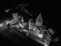 Fortezza di Ananuri da sopra alla notte fotografia stock libera da diritti