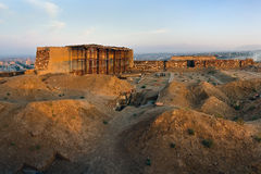 Fortezza di Erebuni sopra la vista del paesaggio della città di Yerevan Fotografia Stock Libera da Diritti