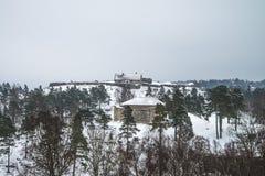 Fortezza di Fredriksten, fortificazione (scena di inverno) Immagine Stock Libera da Diritti