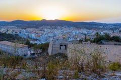 Fortezza di Ibiza e vecchia città al tramonto, Ibiza, isola di Eivissa, Isole Baleari, Spagna fotografie stock libere da diritti