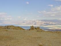 Fortezza di Masada con la vista sul mar Morto Immagine Stock Libera da Diritti