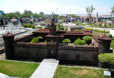 """Fortezza di Milano nel parco a tema """"Italia in miniatura """"Italia in miniatura Viserba, Rimini, Italia fotografia stock"""