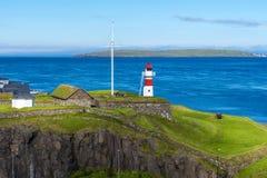 Fortezza di Skansin di Torshavn e del suo faro fotografie stock libere da diritti