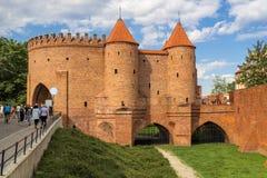 Fortezza difensiva del barbacane di Varsavia della città Immagini Stock Libere da Diritti