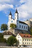 Fortezza e chiesa medioevali Immagini Stock Libere da Diritti
