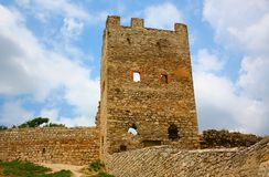 Fortezza Genoese nella città di Feodosia, Ucraina fotografia stock libera da diritti