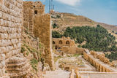 Fortezza Giordania del castello del crociato del kerak di Al Karak Fotografie Stock