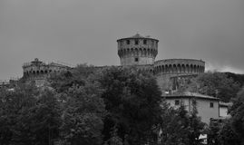 Fortezza Medicea prison in Volterra, Tuscany, Ital. Bw view on Fortezza Medicea in Volterra, Tuscany, Italy Stock Photo