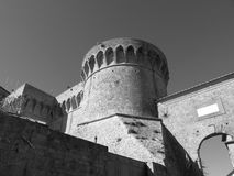 The Fortezza Medicea of Volterra, province of Pisa. Tuscany, Italy. Black and white photo.  Stock Photos