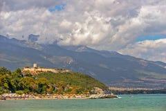 Fortezza medievale vicino a Platamonas in Grecia Immagini Stock