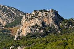 Fortezza Monolithos, isola Rodi, Grecia fotografie stock libere da diritti