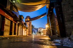 Fortezza Ribat in Medina Susa nella notte illuminata dalla luna Fotografie Stock Libere da Diritti