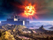 Fortezza straniera del castello nell'ambito di un Sun d'esplosione illustrazione vettoriale
