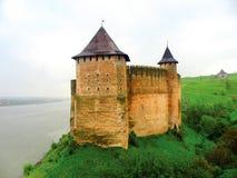 Fortezza ucraina famosa Khotin Fotografia Stock Libera da Diritti