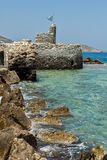 Fortezza veneziana nella città di Naousa, isola di Paros, Cicladi Immagini Stock Libere da Diritti