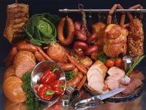 Fortfarande kött och korv Royaltyfria Bilder