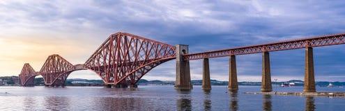 The Forth bridge Edinburgh Panorama stock photo