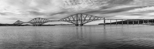 The Forth Bridge, Edinburgh, Scotland - B&W Royalty Free Stock Image