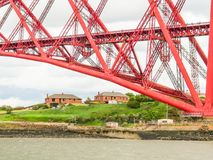 Forth Bridge and Firth of Forth. Edinburgh, Scotland, UK. Support of the Old Forth Bridge and Firth of Forth. Edinburgh, Scotland, UK Stock Images