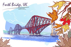 Forth Bridge painted sketch in autumn leaf frame Stock Photography