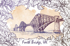 Forth Bridge painted sketch in autumn leaf frame Stock Photo