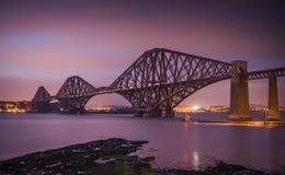 The Forth Bridge. A shot of the Forth Bridge near Edinburgh at night Royalty Free Stock Photography