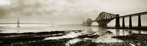 Forth Bridges Monochrome Panor Royalty Free Stock Photos