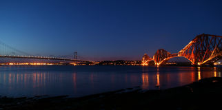 Forth Bridges at Night Stock Image