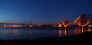 Forth Bridges at Night Stock Image