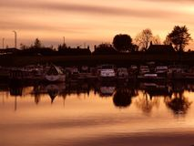Forth & Clyde Canal, Scotland. Sunset at  the Forth & Clyde Canal , Scotland Stock Photography