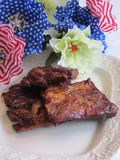 Forth of July Barbecue Ribs with Sauce 2 Royalty Free Stock Images