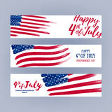 Forth July Independence day banners set design. National day USA holiday poster greeting card. Stars and stripes american flag vector illustration. Paint hand Royalty Free Stock Photo