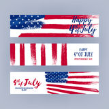 Forth July Independence day banners set design. National day USA holiday poster greeting card. Stars and stripes american flag vector illustration. Paint hand Royalty Free Stock Images