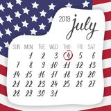 Forth of July in 2019, Independence day celebration, calendar leaf with hand written signs and dates, week starts sunday. July month design with american flag stock illustration