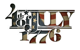 Forth of July 1776 Lettering Cut-Out Stock Photo