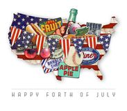 4th of July Pop Art. Forth of July Pop art Happy 4th Independence Day America United States USA grunge vintage decor piece art logo royalty free illustration