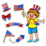 Forth of july set. Kid celebrating 4th of july, plus matching icons for decoration Stock Photo