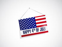 Forth of july us hanging flag illustration Stock Images