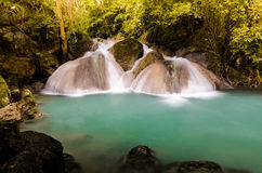 The forth level of Erawan Fall. Thailand Stock Photo