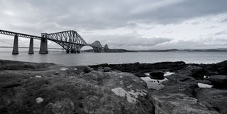 Forth Rail Bridge in black and white. Black and white photograph of the Forth Rail Bridge Stock Photography