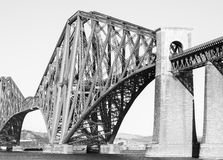 Forth rail bridge in black and white. Forth rail bridge in Edinburgh on a sunny day. Black and white photo Stock Image