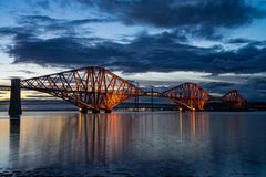 The Forth Rail Bridge crossing between Fife and Edinburgh, Scotland royalty free stock photography