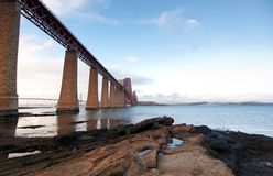 Forth Rail Bridge landcape. With foreground rocks Royalty Free Stock Images