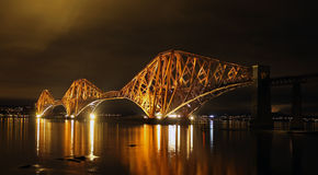Forth Rail Bridge, Edinburgh. Forth Rail Bridge at night, Edinburgh Stock Photos