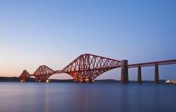 The Forth Rail Bridge , Scotland. The Forth Rail Bridge crossing between Fife and Edinburgh, Scotland. Night scene stock photo