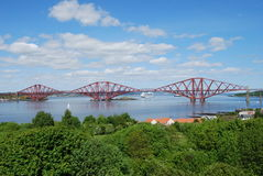 Forth Rail Crossing. A view of the impressive Forth rail Bridge at South Queensferry royalty free stock images