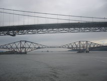 Forth Rail and Road Bridges. Scotland Royalty Free Stock Photography