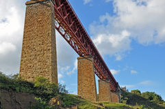 Forth Rail Viaduct. Viaduct at the start of the Forth Rail Bridge, North Queensferry, Scotland Stock Image
