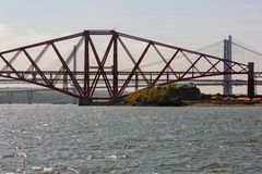 Forth railway Bridge over Firth of Forth near Edinburgh , Scotland stock images