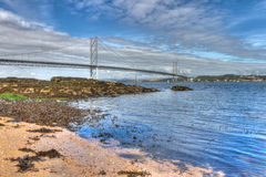 Forth Road Bridge. World famous Forth Road Bridge spanning the Firth of Forth, Scotland Stock Image